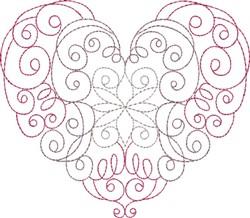 Multi-Color Heart Curls embroidery design