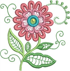 Jacobean Style Daisy embroidery design