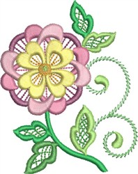 Jacobean Quilted Floral embroidery design