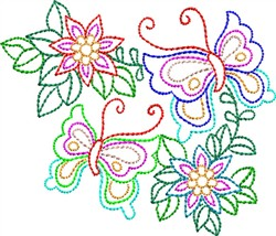 Multicolor Butterflies embroidery design