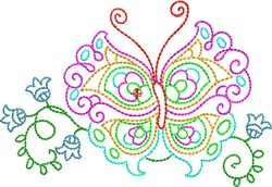 Multi-Colored Butterfly embroidery design