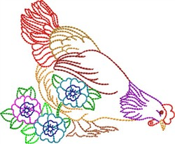 Multicolor Rooster embroidery design