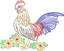 Backstitch Rooster embroidery design