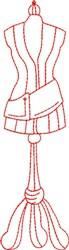 Redwork Dress Form embroidery design