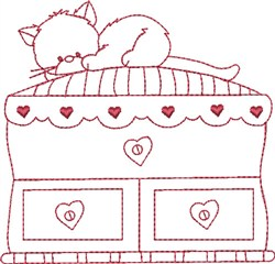 Redwork Kitty embroidery design