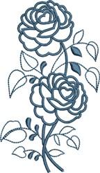 Blue Rose Outline embroidery design