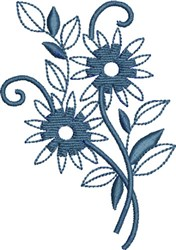 One Color Flower embroidery design