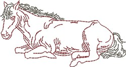 Resting Outline Horse embroidery design