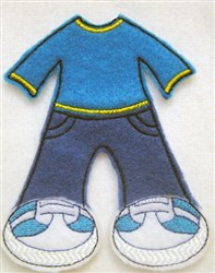 Felt Paperdoll Boys Jeans embroidery design