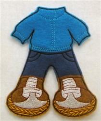 Felt Paperdoll Boys Snowsuit embroidery design
