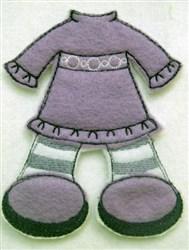 Felt Paperdoll Dress with Leggings embroidery design