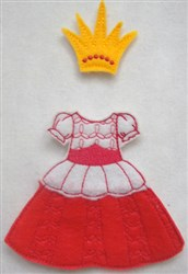 Felt Paperdoll Princess Outfit embroidery design