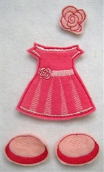 Felt Paperdoll Party Dress embroidery design