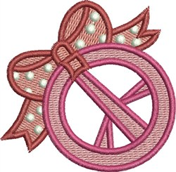 Peace Sign & Bow embroidery design