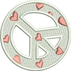 Peace Sign With Hearts embroidery design