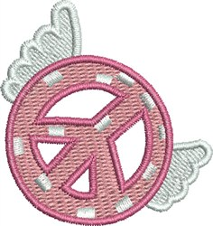 Winged Small Peace Sign embroidery design