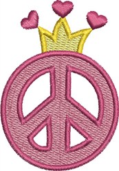 Princess Peace Sign embroidery design