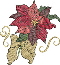 Pointsettia with Bow embroidery design