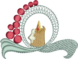 Looped Ribbon Candle embroidery design