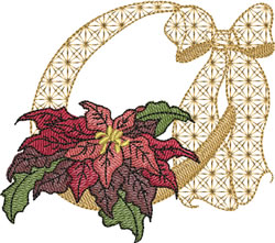 Patterned Ribbon Pointsettia embroidery design
