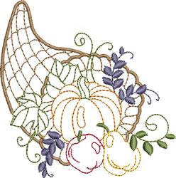 Thanksgiving Cornucopia embroidery design