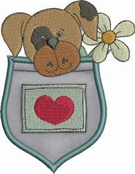 Spot Pup Pocket Applique embroidery design