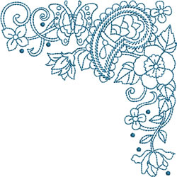 Bluework Paisley Corner embroidery design