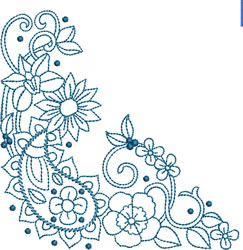Paisley Floral Corner embroidery design