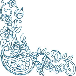Butterfly Paisley Corner embroidery design