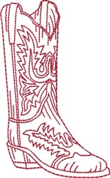 Redwork Cowboy Boot 4 embroidery design