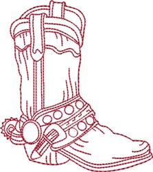 Redwork Cowboy Boot 5 embroidery design