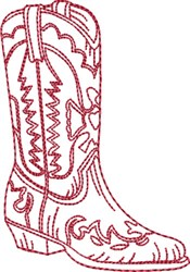 Redwork Cowboy Boot 9 embroidery design