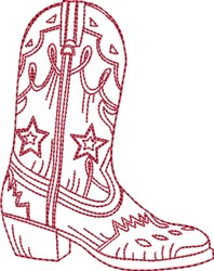 Redwork Cowboy Boot 10 embroidery design
