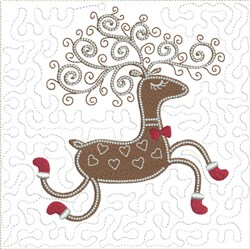 ITH Prancing Reindeer Quilt Block embroidery design