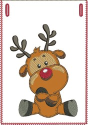 Stubborn Rudolph Banner Pocket embroidery design