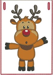 Surprised Rudolph Banner Pocket embroidery design