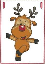 Dancing Rudolph Banner Pocket embroidery design