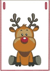 Sitting Rudolph Banner Pocket embroidery design