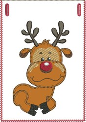 Curled-up Rudolph Banner Pocket embroidery design