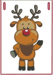 Happy Rudolph Banner Pocket embroidery design