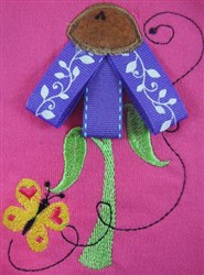 ITH Ribbon Applique Cone Flower embroidery design