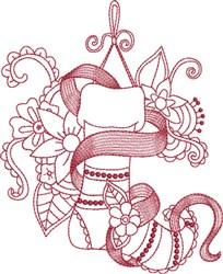 Redwork Stocking embroidery design
