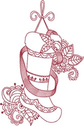 Red Ink Christmas Stocking embroidery design