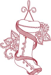 Scrolled Redwork Stocking embroidery design