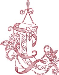 Victorian Red Ink Stocking embroidery design