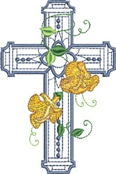 Floral Cross with Dots embroidery design