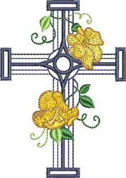 Center Circle Floral Cross embroidery design