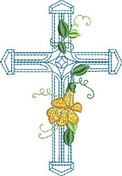 Blue Cross Single Flower embroidery design