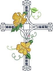 Square Center Floral Cross embroidery design
