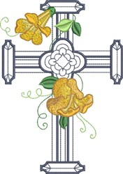 Large Double Floral Cross embroidery design